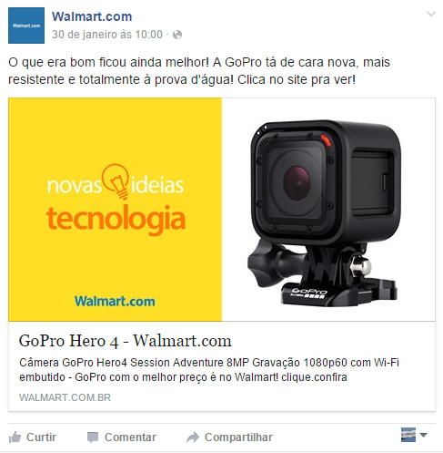 Exemplo de Post Comercial